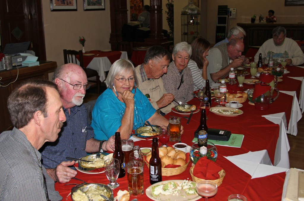 On the first night of a trip the Welcome Dinner provides time to get to know fellow travelers and receive orientation from our guides and tour operator. And the food is usually  pretty delicious. CSSA Tour 2010 – Oaxaca. Photo D. Mahr.