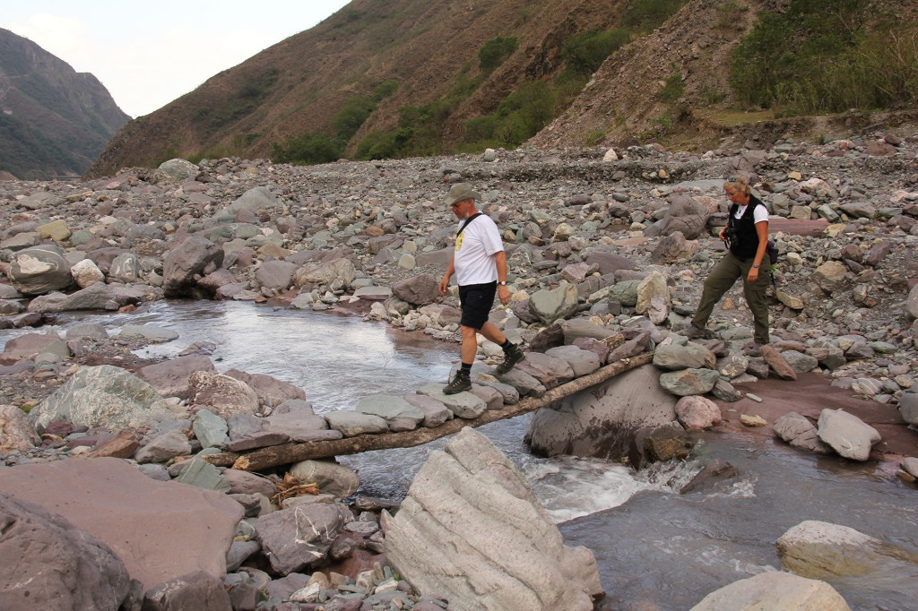 En route to Parodia chrysacanthon. A fair amount of agility is helpful to traverse rocky areas and the occasional narrow and rickety local foot bridge. CSSA Tour 2012 – Northwest Argentina. Photo D. Mahr.